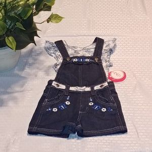 Other - New Toddler Girls 2T 2 Piece Overall Outfit